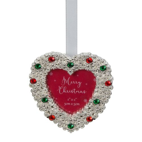 Heart Shape Silver Plated and Crystal Mini Photo Frame Christmas Tree Ornament Gift